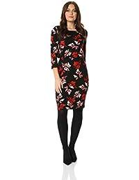 1848d6031 Roman Originals Women Leaf Print Blouson Dress - Ladies Everyday Smart  Casual Floral Round Neck Knee