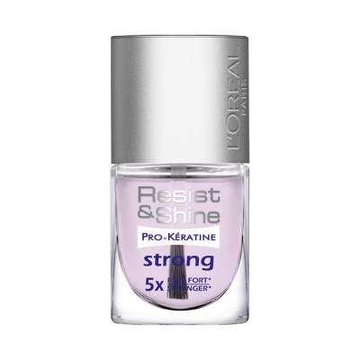 Loreal Resist & Shine Pro-Keratine Strong 5x Stronger Inhalt: 9ml Nagelpflegelack. Nagelhärter stärkt und festigt weiche und dünne Nägel. Nagellack für starke Nägel. Unterlack für gepflegte Nägel Nail Polish