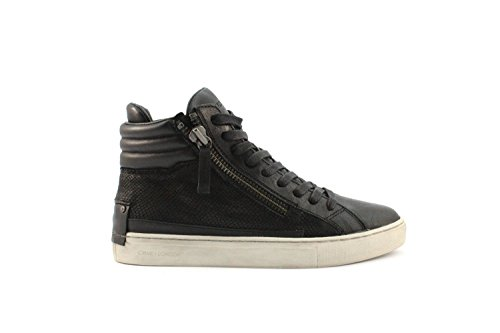 Crime London Stivaletto Donna Sneaker Alta Leather 2 Zip Black_37