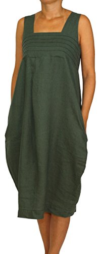 24098 Mesdames, Dames, Femmes robe en lin longue, sans manches, morceau de ballon, M, L, XL, XXL. olive vert