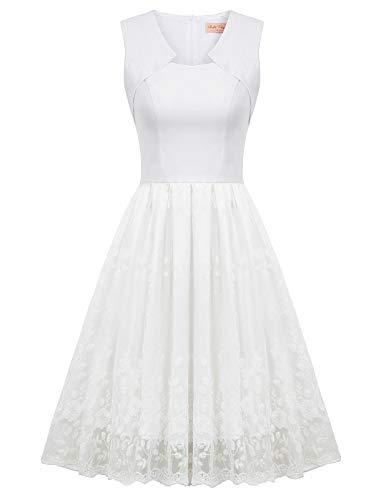 Belle Poque Charmant Prinzessin Kleid Ärmelloses Cocktailkleid Sexy Spitzen Ballkleid Rockabilly Kleid Weiß BP916-2_2XL (Prinzessin Belle Ballkleid)