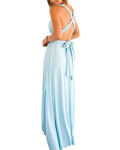 Robe Longue Femme Elégante Sans Manche Dos Nu Robe de Soirée Robe de Cocktail Bleu Clair