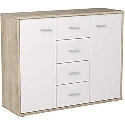 IDIMEX Buffet Elodie, Commode Meuble de Rangement avec 4 tiroirs et 2 Portes, en mélaminé décor chêne Sonoma et Blanc Mat