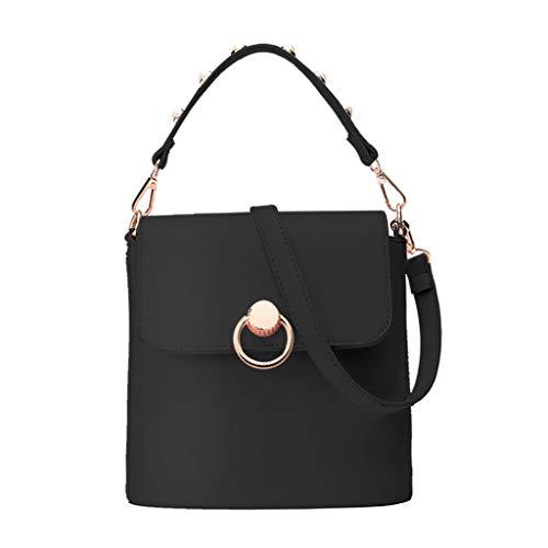 Ledertasche, Schultertasche, Geschenk, Handgefertigte Tasche,Frauen modische reine Farbe Umhängetasche Single-Umhängetasche Bucket Bag ()