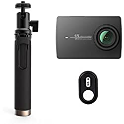 YI 4K Acción Cámara Negro con Selfie Stick y Bluetooth Mando a Distancia, 4K/30fps 12MP Action CAM con 5,56cm (2.2Pulgadas) LCD Pantalla Táctil, WiFi y aplicación para iOS/Andriod, Voz Set