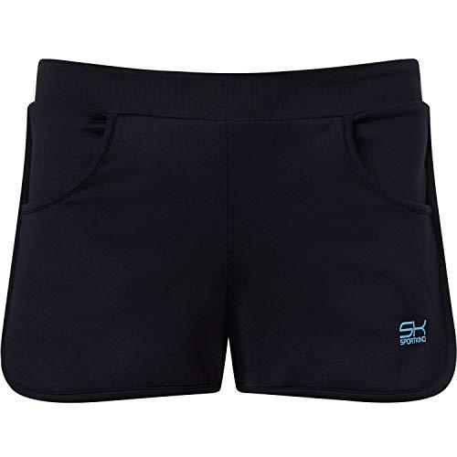 Sportkind Mädchen & Damen Tennis, Volleyball, Sport 2-in-1 Shorts mit Innenhose, schwarz, Gr. M