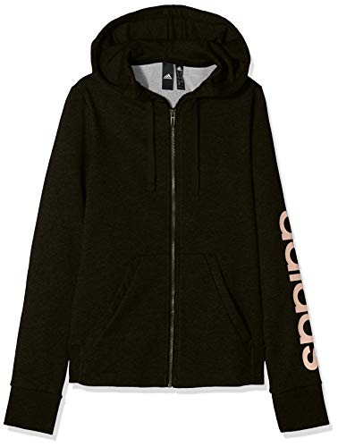 adidas Damen Kapuzen-Jacke Essentials Linear Full Zip Hooded, Black/Haze Coral, L, DI0119