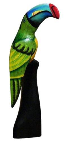 Vogel Kakadu Ara Papagei Tier Holz grün Tukan01 - Kakadu-maske