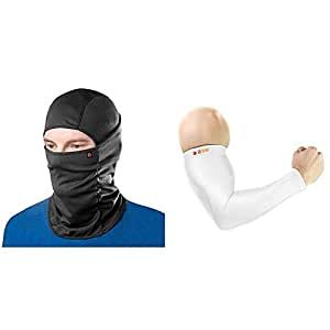 Le Gear Face Mask Pro+ for Bike, Ski, Cycling, Running, Hiking - Protects from Wind, Sun, Dust - 4 Way Stretch (Black) & Le Gear High Performance Arm Sleeves (Sold as a Pair) (White)