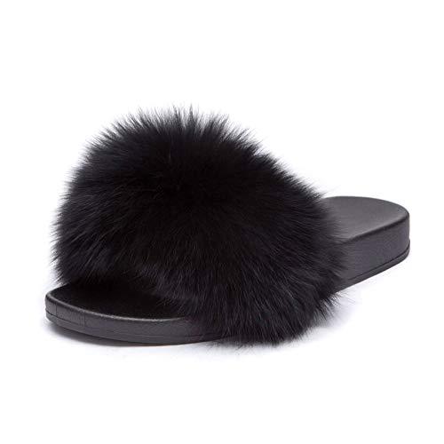 Mforshop scarpe donna ciabatte ec pelliccia pelo pantofole sandali pelose diapositive 997 - nero-970, 38