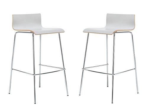 MAUSER SITZKULTUR 2er-Set Design Barhocker / Barstuhl in schlanker Form, Holzdeckor grau, Gestell glanzverchromt; M225
