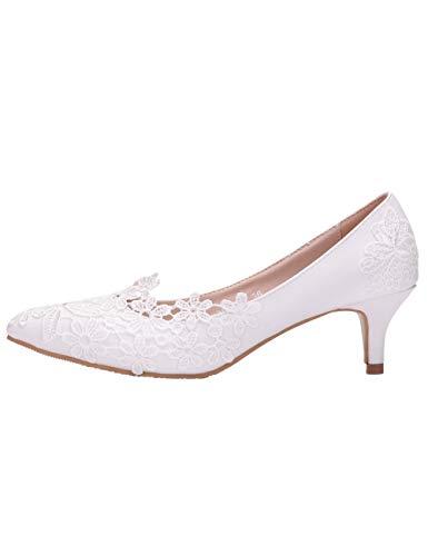 SPDYCESS Brautschuhe Damen Weiße Spitze Hochzeit Schuhe Bequeme High Heel Pumpe - Abendgesellschaft Prom Mary Jane Brautjungfern Sandalen Heel Sexy Pumps