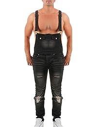 Shujin Herren Retro Lange Jeans Latzhose Denim Overalls Skinny Fit  Stone-Washed zerreißen Arbeitshosen Jumpsuit b0d1fe2f5e