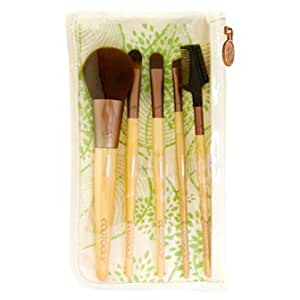 EcoTools Six Piece Starter Set - brushes include Concealer, Blush, Eye Shading, Angled Eyeliner and Lash & Brow Groomer with dual-pocket Travel Bag cosmetic case (6 Piece)