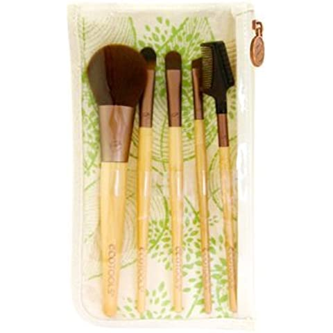 EcoTools Six Piece Starter Set - brushes include Concealer, Blush, Eye Shading, Angled Eyeliner and Lash & Brow Groomer with dual-pocket Travel Bag cosmetic case (6 Piece) by Ecotools