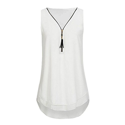 kolila Sommer Weste Tops Sale Damen 1/3 Reißverschluss Einfarbig V-Ausschnitt Lose Beiläufige Ärmellose Tank Shirt Bluse Oberteile (Jack Stone-kleid-shirt)