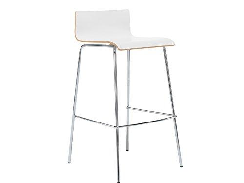MAUSER SITZKULTUR Design Barhocker / Barstuhl in schlanker Form, Holzdeckor weiß, Gestell glanzverchromt; M225