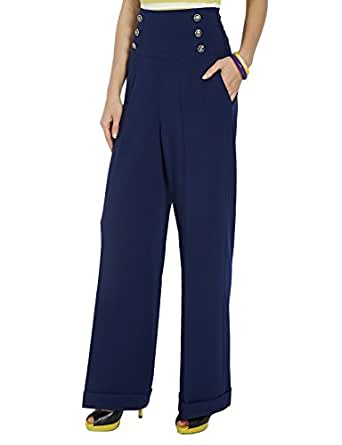 morgan 151 polo n pantalon large femme bleu marine fr 36 taille fabricant 36. Black Bedroom Furniture Sets. Home Design Ideas