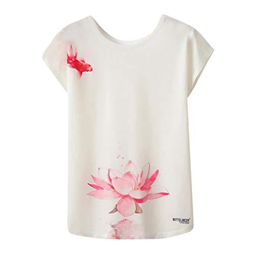 Bluse Damen Mädchen Geometrischer Animal Print O Neck Kurzarm Loses T Shirt Bluse (Damen Shirt Traktor)