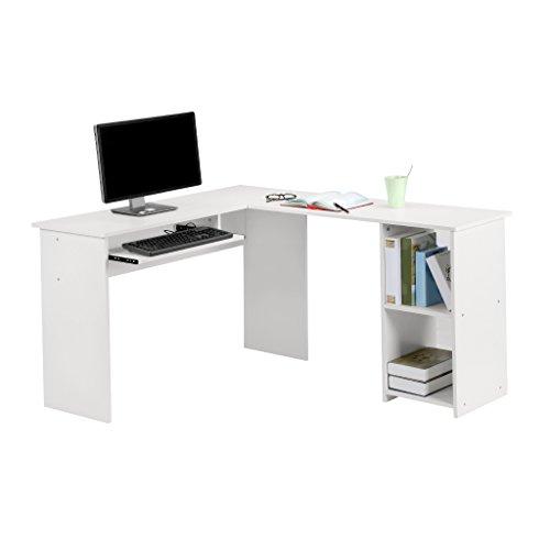 LANGRIA Scrivania Tavolo Porta PC a Forma di L per Casa Ufficio Stazione di Lavoro Bianco
