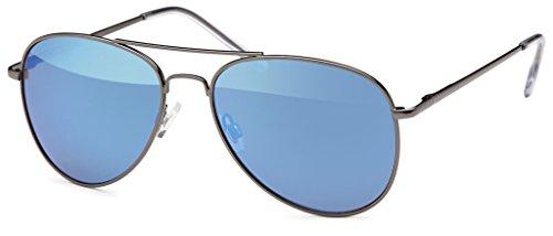 Premium Set, Pilotenbrille Verspiegelt Fliegerbrille Sonnenbrille Pornobrille Brille mit Federscharnier (74 | Rahmen Schwarz - Glas Blau verspiegelt)