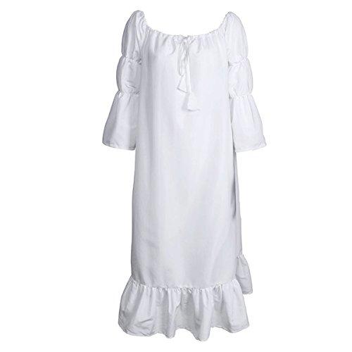 CUSFULL Traje medieval Vestido con hombros al aire Camisa de estilo de Renacimiento para mujeres chicas Disfraz de Señora de Edad Media –Blusa vintage blanca (XL)