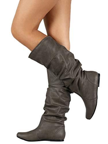 27e8e4a08d2565 Minetom Damen Klassische Stiefel Weiche Flache Schuhe Lederstiefel Winter  Casual Plissee Höhe.
