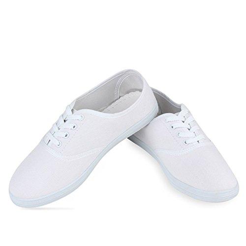 Damen Sneakers Stoff | Sneaker Low Muster | Basic Schuhe Animal Print | Freizeit Turnschuhe Schnürer Weiß
