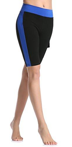 ABUSA Damen Shorts Sport Leggings Hose Yoga Fitness Gym Pilates Gr. Medium, Schwarz + Königsblau (5 Zoll).