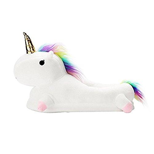 Unicorno Peluche Pantofole Kirin Ciabatte Scarpe Invernali Unisex Halloween Regalo Animali Cosplay 35-44
