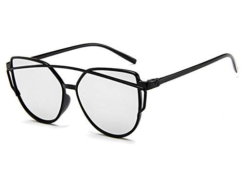 ZHAS High-End-Brillen Sonnenbrillen Damen Twin-Beams Beschichtung Spiegel Sonnenbrille Damen Retro-Kunststoff-Sonnenbrille Personalisierte High-End-Sonnenbrille Silber