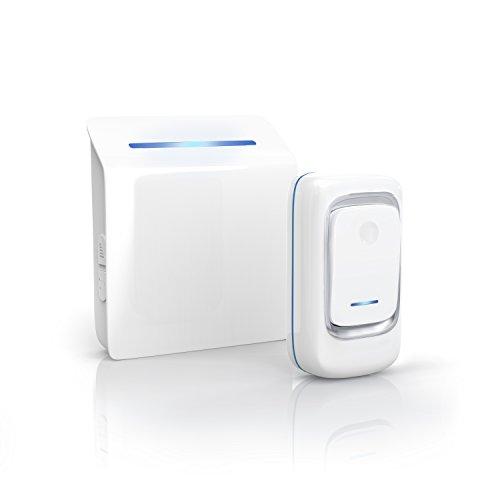 Preisvergleich Produktbild CSL - kabellose Türklingel / Funktürklingel | Haustürklingel / Wireless Digital Door Bell | 1 x Sender / 1 x Empfänger | 36 wählbare Melodien/Klingeltöne | vier Lautstärkestufen | IP44 (spritzwassergeschützt) | weiß