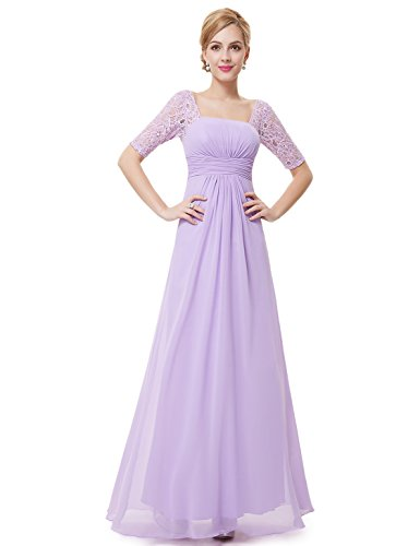 Ever Pretty Damen Halber Arm Quadratischer Kragen Faltenwurf Taile Lange Abendkleider 42 Lavendel...