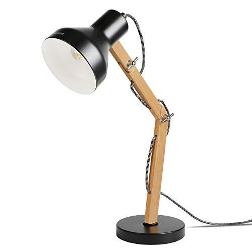 Tomons Lámpara de Escritorio de Madera, Lámpara de Mesa de Diseño, Lámparas de Lectura, Lámpara de Estudio, Lámpara de Trabajo, Lámpara de Oficina, Lámpara de noche de cabecera, bombilla LED, Negro