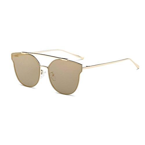 Damen Herren Vintage Retro Brille Unisex Fashion Spiegel Gläser Sonnenbrille Gr. Einheitsgröße, gold