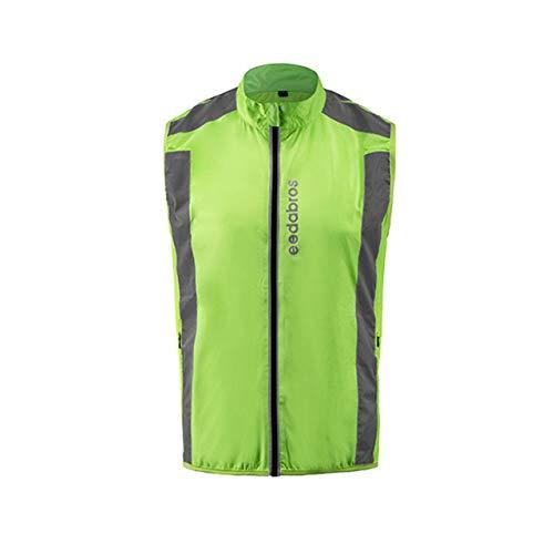 DEjasnyfall Sicherheit Radweste Laufen Gehen Sport Windjacke Windweste Ärmellose Fahrradbekleidung Outdoor Sport Shirts (grün)