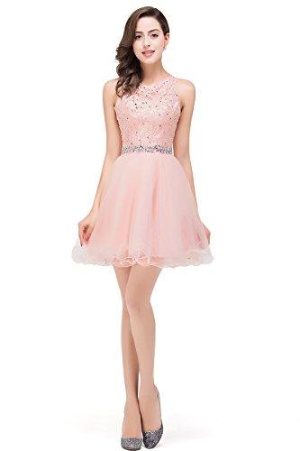 Damen Prinzessin Spitze Abiballkleid Abschlusskleid mit Schmucksteinen Knielang Rosa Gr.40