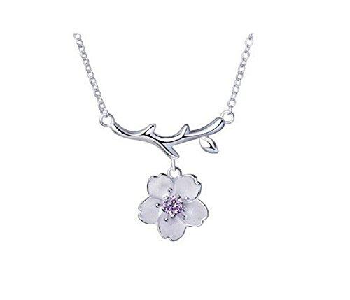 cm mit 925Sterling Silber Anhänger Halsketten Blume Cherry Blossom für Mädchen Frauen JJOnlineStore Accessories Zirkonia (Cherry Blossom Mädchen)