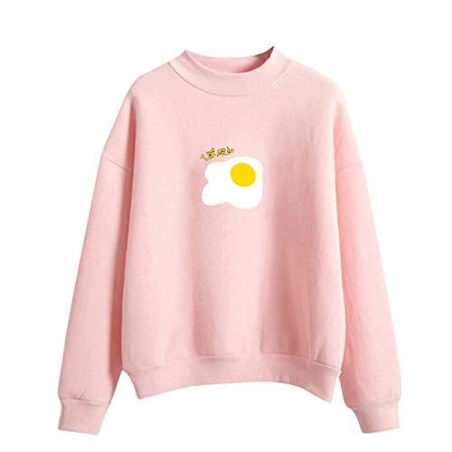 TWISFER Damen Oberteile Lässige Tshirt Mode Frauen Tops O-Ausschnitt Einfarbig Muster Langarm Plus Samt Sweatshirt Kapuzenpullover -