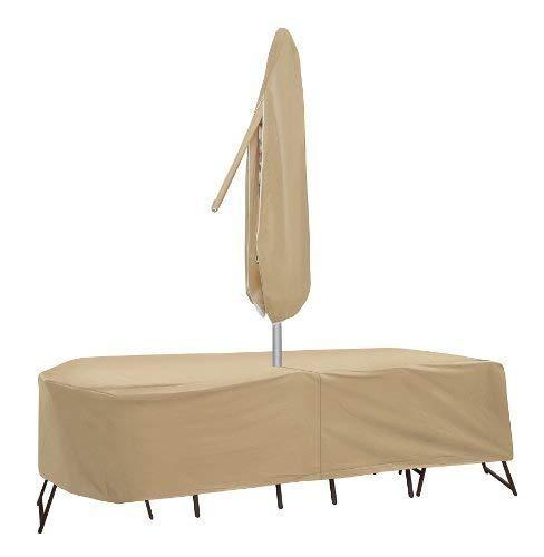 Coques de protection résistant aux intempéries Table de patio et Housse de protection pour chaise à dossier haut, 182,9 x 193 cm, ovale/rectangulaire Table, Tan en Coques de protection
