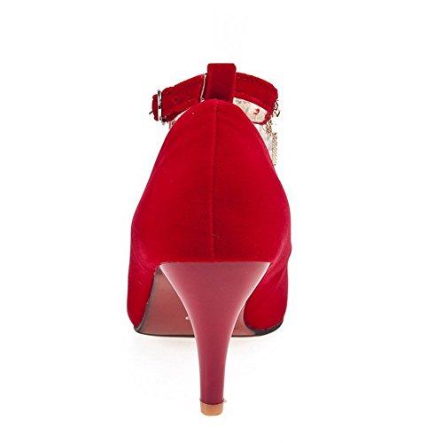 VogueZone009 Femme Boucle Pointu à Talon Haut Couleur Unie Chaussures Légeres Rouge