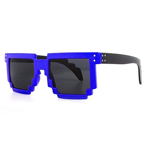 Distressed Pixel Sonnenbrille im Retro Stil 70er 80er (royalblau-schwarz)