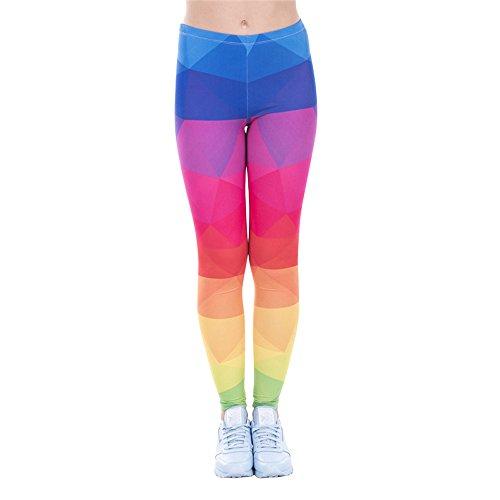Hanessa Frauen Leggins Rot Blau Gelb Bedruckte Leggings Hose Frühling Sommer Kleidung Regenbogen-farben L58