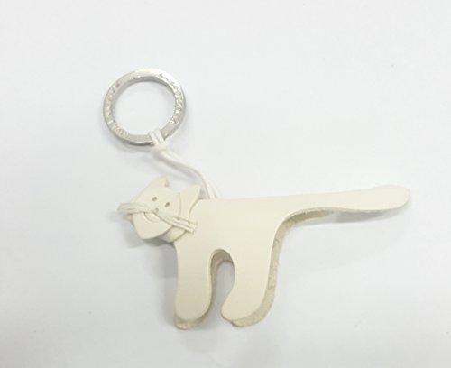 'Schlüsselanhänger aus echtem Leder Modell Katze weiß 100% Made in Italy garantiert handgefertigt mit Leder der Toskana