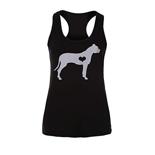 COCODE Damen Bedruckte Dog Love äRmellose äRmellose Weste äRmelloses Top Womens Fashion Beach Print LäSsige TräGershirt Bluse ÄRmelloses O-Neck T-Shirt