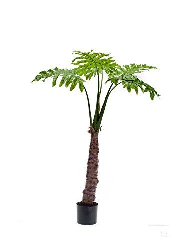 artplants Künstliche Philodendron-Palme RUSTINO, 5 Blätter, 120 cm- Kunst Baum/Deko Grünpflanze