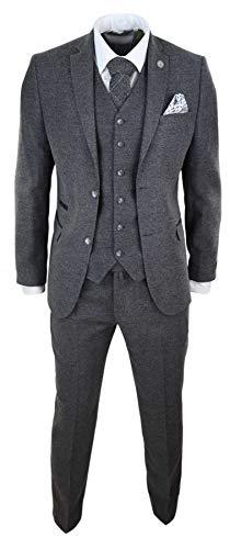 TruClothing.com Herrenanzug 3 Teilig Wollenanteil Tweed Design 1920 Vintage Klassisch - grau 54EU/44UK Sakko- 38