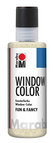 Marabu 04060004584 - Window Color fun & fancy, transparente Glitter Farbe auf Wasserbasis, ablösbar auf glatten Flächen wie Glas, Spiegel, Fliesen und Folie, 80 ml, glitzer gold -