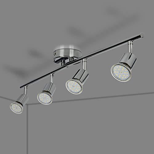 Foco LED para techo Lámpara de techo con focos redondos I incl. 4 x 5 W bombillas LED GU10 lamparas de techo led Luz de techo Plafon Lámpara de salón giratoria IP20 [Clase de eficiencia energética A+]