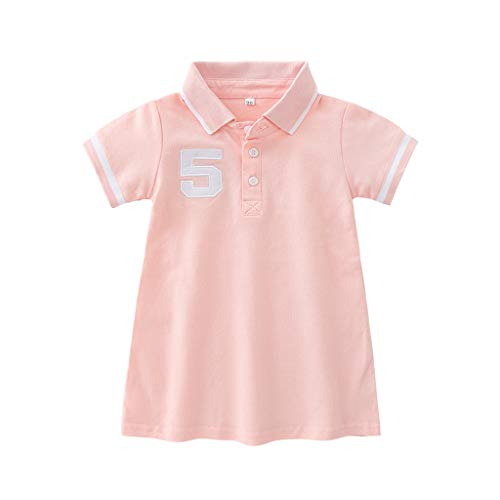 er T-Shirt Kleiden Gestreift Kurze ÄRmel Freizeit Sport Polo Kragen Kurze Ärmel Sommer Tunika Dresse Kleidung(Rosa,120) ()